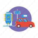 background, computer, electric car, modern, network, smart car, technology icon