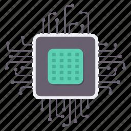 chip, cpu, device, memory, microchip, processor, wire icon