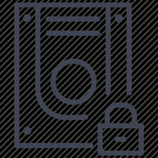 data, database, lock, security, storage, technology icon