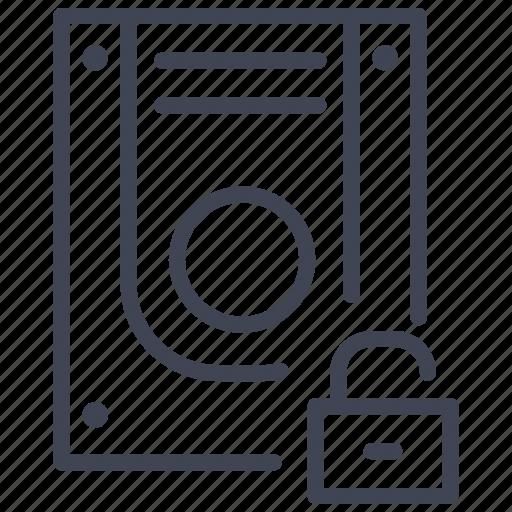 data, database, security, storage, technology, unlock icon