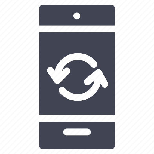 arrows, mobile, phone, refresh, smartphone, technology icon
