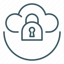 cloud, data, locked, secured, security icon