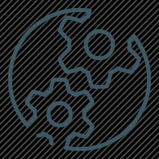 cogwheels, engineering, gear, industry, options, settings, technology icon