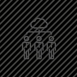 cloud, computing, database, human, network, social, three icon
