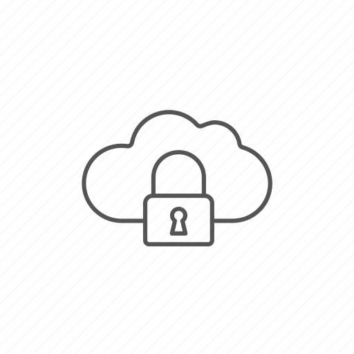 cloud, data, information, lock, password, protection, security icon