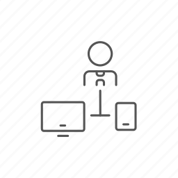 computer, linked, man, network, smartphone, synchronization, user icon