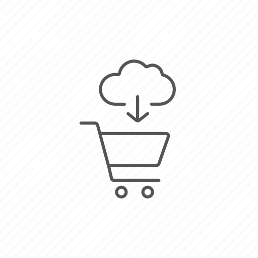 basket, cloud, commerce, download, online, retail, shopping icon