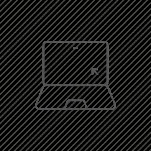 arrow, click, cursor, laptop, monitor, screen, view icon
