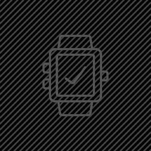 check, clock, gadget, ok, smartwatch, technology, watch icon