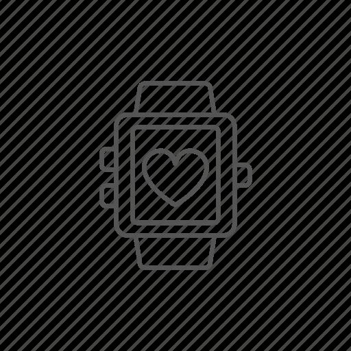 app, fitness, healthcare, heart, heartbeat, like, smartwatch icon
