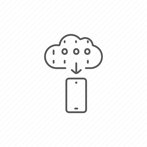 cloud, computing, connection, download, network, smartphone, storage icon