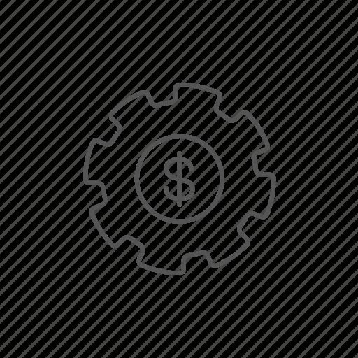 dollar, earn, economy, gear, money, settings, tool icon