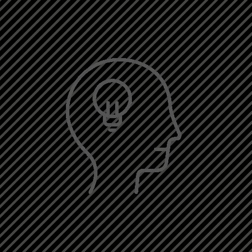 head, idea, intelligent, light, mind, solution, success icon