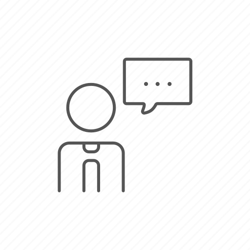 chat, cloud, man, speech, square, text, thinking icon