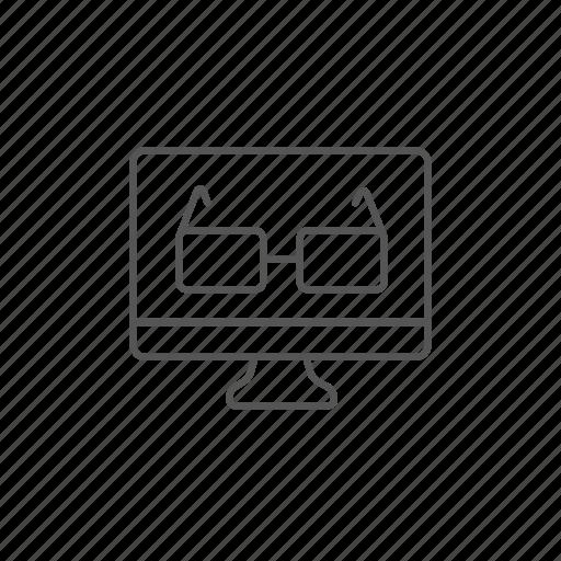 computer, desktop, glasses, lens, monitor, since, technology icon