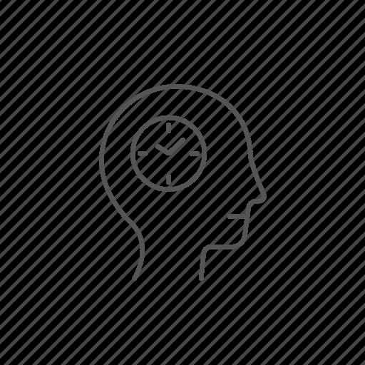 clock, head, human, plan, schedule, timeplan, timetable icon