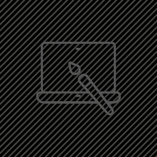 background, brush, image, laptop, monitor, paintbrush, wallpaper icon