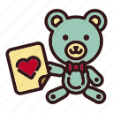 animal, bear, doll, love, teddy, toy, valentine icon
