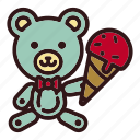 animal, bear, doll, icecream, sweet, teddy, toy icon