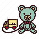 animal, bear, childhood, doll, teddy, toy, van icon