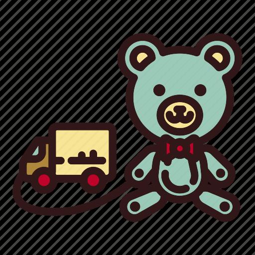 animal, bear, childhood, doll, teddy, toy, van icon