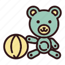 ball, bear, chidhood, doll, play, teddy, toy icon
