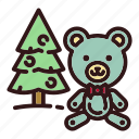 bear, christmas, christmas tree, forest, teddy, toy, tree icon