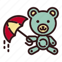 bear, doll, rain, teddy, toy, umbrella, weather icon