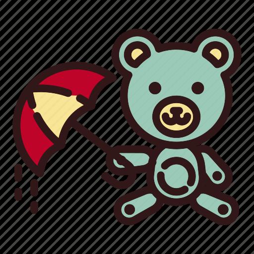 bear, doll, rain, teddy, toy, umbrella, weather icon