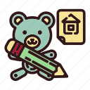 architecture, bear, designer, house, pen, teddy, toy icon