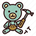 bear, builder, building, claw hammer, hammer, teddy, toy icon