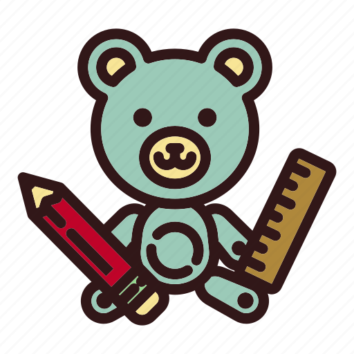 architecture, bear, designer, pen, ruler, teddy, toy icon