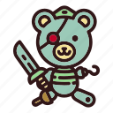 bear, doll, pirate, sea, ship, teddy, toy icon