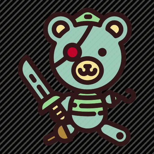 bear, doll, pirate, sea, ship, teddy, toy icon