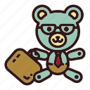 bear, business, businessman, office, teddy, toy, trade icon
