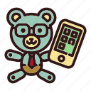 toy, business, teddy, bear, trade, smartphone, businessman