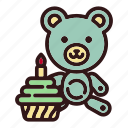 bear, birthday, cake, childhood, gift, teddy, toy icon