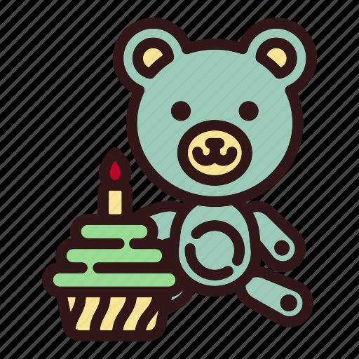 bear, birthday, cake, childhood, gift, teddy, toy icon