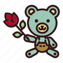bear, flower, love, teddy, toy, valentine icon