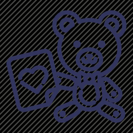 animal, bear, doll, love, teddy, toy, valentine icon