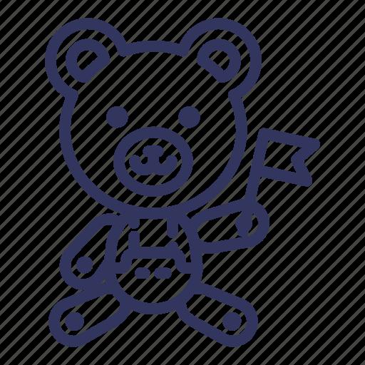animal, bear, doll, flag, national, teddy, toy icon