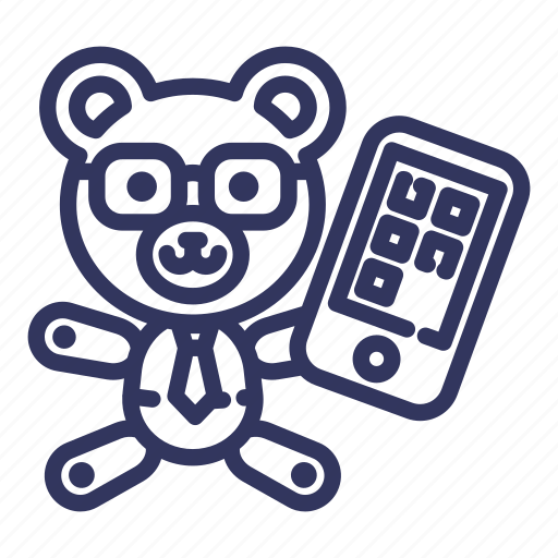 bear, business, businessman, smartphone, teddy, toy, trade icon