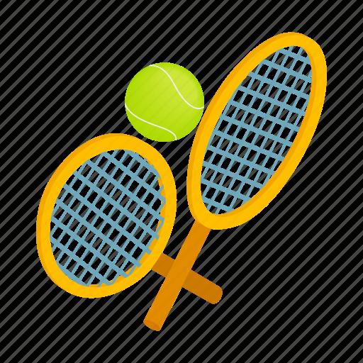 ball, equipment, game, isometric, racket, sport, tennis icon