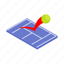 ball, court, game, isometric, leisure, sport, tennis icon