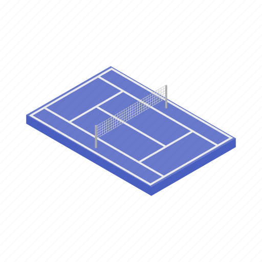 competition, court, game, isometric, leisure, net, tennis icon