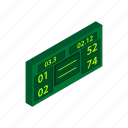 ball, court, game, isometric, scoreboard, sport, tennis icon