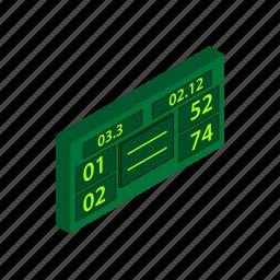ball, court, game, isometric, scoreboard, sport, tennis icon