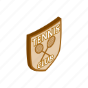 competition, game, isometric, play, shield, sport, tennis icon
