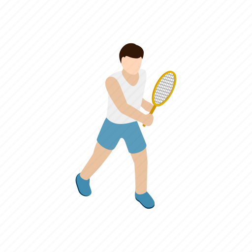 ball, competition, isometric, player, racket, strike, tennis icon