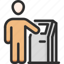 atm, bank, cash, man, out, pay, terminal icon